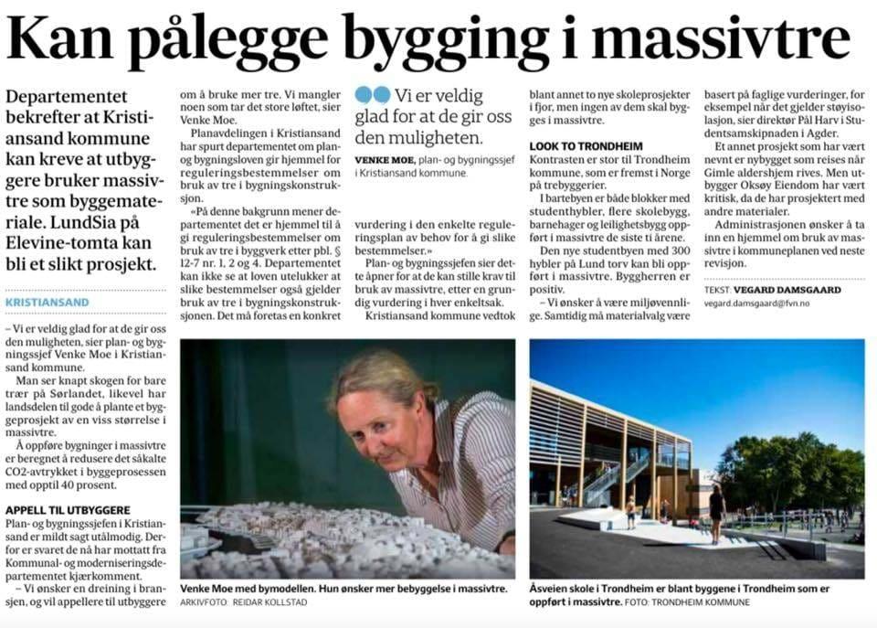 KMD bekrefter at Kristiansand Kommune kan pålegge bruk av krysslimt tre reguleringsbestemmelser