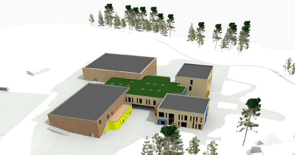 Flesberg skole i Buskerud, som også inkluderer ny svømmehall og idrettsbygg bygges i KL tre